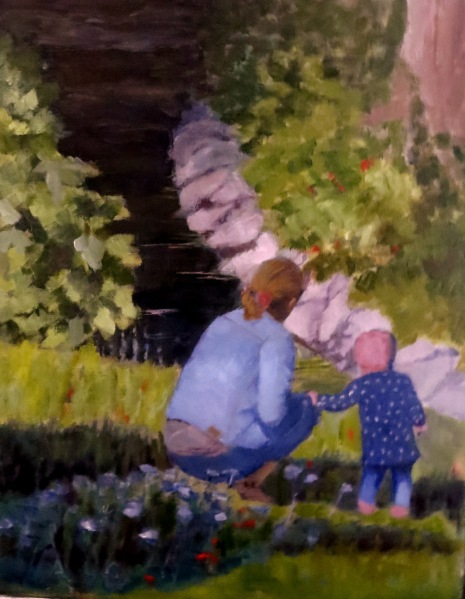 14 x 11 oil on a panel This beautiful reference of a mother and her little toddler sharing time together was taken by my daughter on a trip this summer. I immediately fell in love with it and painted it as a gift to my daughter and her husband.
