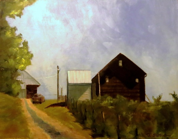 This is an 11 x 14 oil on a panel. It's around the area where I live. I've had the reference for a long time and even painted a smaller version, but it was when I cropped the reference close up that I fell in love with the scene. To me, it depicted a friend stopping by for a visit - a stranger would have parked in the lane.