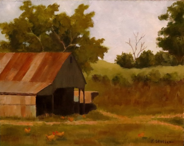 This is an 11 x 14 oil on a panel. I was attracted to the lovely colors I saw in the barn. The chickens added some life and helped with the story.