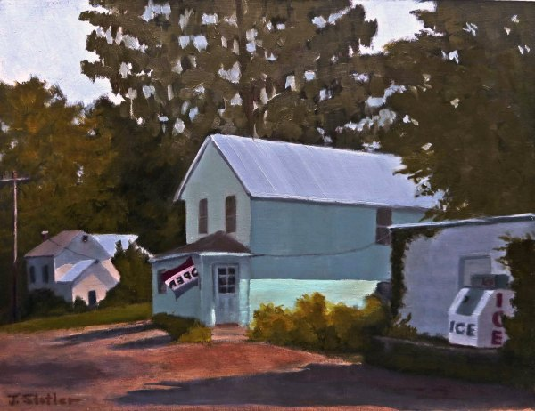 11 X 14 oil on a panel.  This little grocery is now history. It was an iconic little store in it's day and all the locals kept it going, but now all that is left is mostly just a memory of that. I was glad to make a painting of it in its prime.